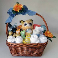 B - Baby Boy Fluffy Fox Gift Basket